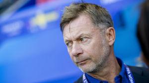 Sveriges förbundskapten Peter Gerhardsson på en match.