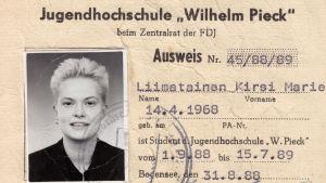 Kirsi Liimataisen opiskelijakortti DDR:ssä