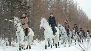 Kim Jong-Un på ridtur i vintras tillsammans med sin fru Ri Sol-Ju och systern Kim Yo-Jong