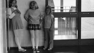 Mustavalkoinen kuva peruskoulusta.