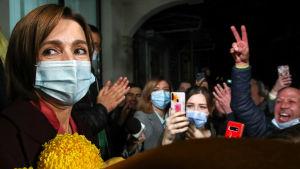 Maia Sandus seger firades i huvudstaden Chisinau sent på söndag kväll.