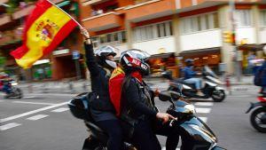 Demonstrationer i Barcelona för ett enat Spanien.