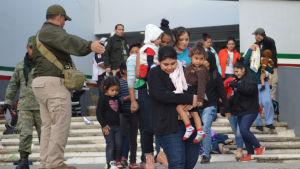 Omnkring 300 män, kvinnor och barn hade trängts ihop i en lastbil.