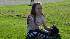 Sofia Ekroos pustar ut efter ett träningslopp.
