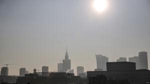 Smog över Polens huvudstad Warszawa.