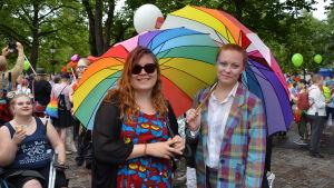 Siri och Linda har satsat på färgglad klädsel och paraplyer i regnbågens färger under åbos prideparad 2018