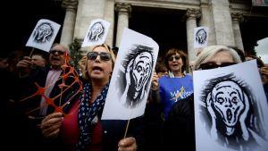 """Protesten mot förfallet i Rom symboliseras av Edvard Munchs målning """"Skriet"""""""