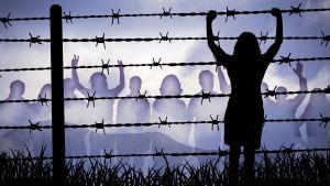 En teckning på en kvinna vid ett stängsel