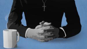 Piirroskuvassa on pappi (rajattu ilman kasvoja) kädet ristissä, hänen edessään on höyryävä kahvikuppi.