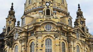 Frauenkirche i Dresden, Tyskland. Kyrkan byggdes 1726-43, förstördes i februari 1945, återuppbyggdes 1994-2005u