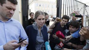 Juristen Ljubov Sobol som inte tilläts ställa upp i kommunalvalet i Moskva i september, var en av de demonstranter som greps i Moskva på lördagen