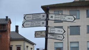 Ett antal skyltar som visar olika sevärdheter i Borgå.