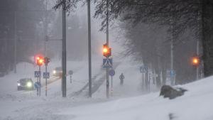 Jalankulkijoita lumipyryssä.