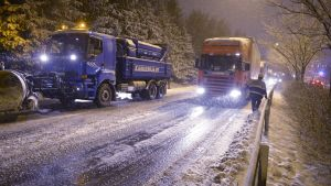 Trafikproblem nära ring 1 vid Otnäs den 21 november 2014.