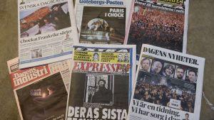 Svenska dagstidningar uppmärksammar Charlie Hebdo