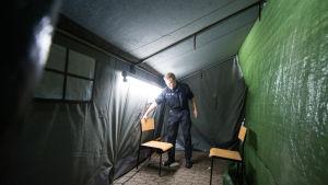 Boende för flyktingar i tält i Hanover.