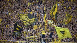 Dortmundsupportrar viftar med flaggor 2015.