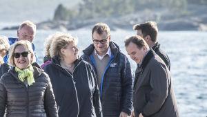 Juha Sipilä tillsammans med sina nordiska kolleger Erna Solberg och Stefan Löfven på Åland 2016.