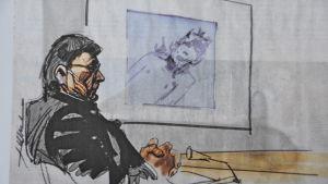 Illustratören Hannu Lukkarinens teckning av mordmisstänkte Nils Gustafsson som tittar på en bild av sin mördade ex. flickvän.