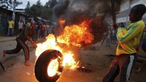 Demonstration i Nairobi efter anklagelser om valfusk i Kenya.