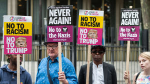 Demonstration mot Trump i London.