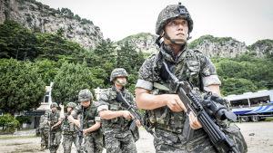 Sydkoreanska marinsoldater övar sig att försvara ön Ulleung 120 kilometer öster om Nordkorea. Övningen på Ulleung är den största någonsin på ön