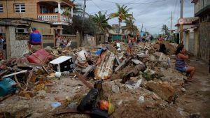 Förstörelse i stadsdelen Cojimar i Havanna efter orkanen Irma, 10.9.2017.