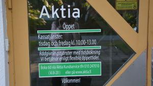 Aktias kontor i Solf har haft öppet två dagar i veckan för kassatjänster och enligt tidsbokning för rådgivningstjänster.