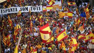 Demonstration i Barcelona för ett enat Spanien