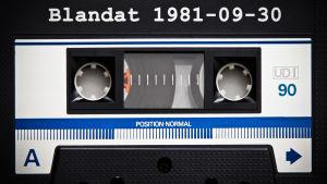Närbild av C-kassett/blandband