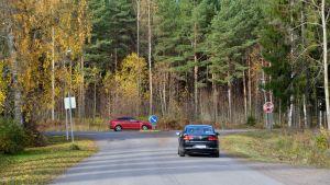 Korsningen av Jorvas anslutningen och Borgåvägen.