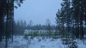 En rälsbuss syns bakom några träd. Marken är täckt av snö.
