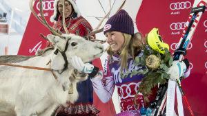 Mikaela Shiffrin vann slalomtävlingen vid Levi 2016.