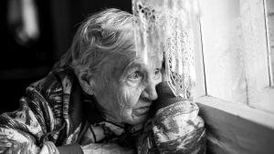 En äldre kvinna tittar ut ur ett fönster med en vit spetsgardin.