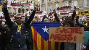 """""""Befria politiska fångar"""", ropade demonstranter i Barcelona."""