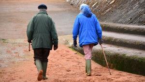 Två äldre personer går i höstlandskap. Bild bakifrån.