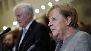 En seriös Angela Merkel i sidoprofil.