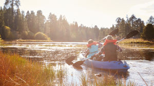 En flicka och en kvinna paddlar i en lugn naturskön vik i solsken.