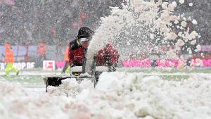 Personal vid fotbollsarenan i Köln röjer snö från planen.
