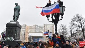 Demonstration i Moskva till stöd för oppositionen.