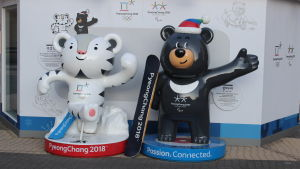 Maskottar i Pyeongchang.