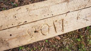 Pitkospuuhun veistetty vuosiluku 2017