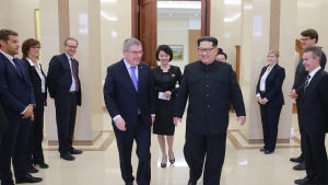 IOK:s ordförande Thomas Bach träffade Kim Jong-Un under sitt besök i Pyongyang