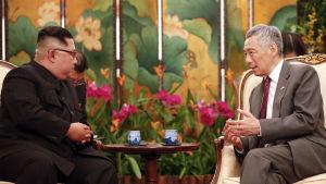 Nordkoreas ledare Kim Jong-Un och Singapores premiärminister Lee Hsien Loong under deras möte i presidentpalatset.