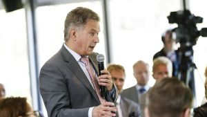 President Sauli Niinistö talar under Gullrandadiskussionerna i juni 2018