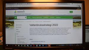 Skärmdump med texten vattenbruksstrategi 2022.