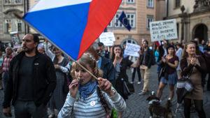 Demonstranter protesterade mot Babiš regering och mot kommunisterna utanför parlamentet i Prag på tisdag kväll 11.7.