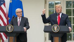 EU-kommissionens ordförande Jean-Claude Juncker och USA:s president Donald Trump.