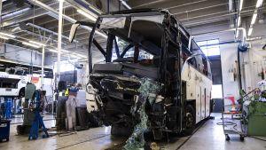 Olycksbussen på bussdepå i Kuopio.
