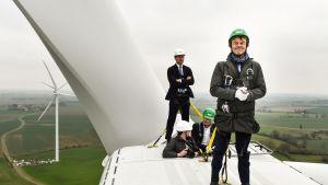 Nicolas Hulot besöker en vindkraftspark 8.1.2018.